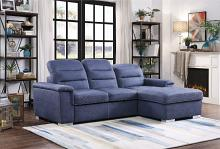 HE-9808BUE-2pc 2 pc Alfio blue fabric storage sectional with pull out bed lounger area