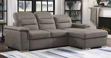 Homelegance 9808STP-2pc 2 pc Alfio taupe textured fabric storage sectional with pull out bed lounger area