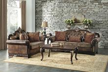 Home Elegance HE-9815-SL 2 pc Croydon brown chenille fabric sofa and love seat set with wood trim