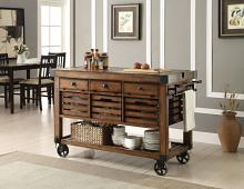 Acme 98184 Kaif distressed chestnut finish wood and black metal accents kitchen island cart