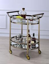 Acme 98190 Everly quinn veselyn lakelyn brushed bronze metal finish frame and rounded glass shelves kitchen island tea / bar cart