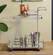 Acme 98217 Everly quinn annley aegis chrome metal finish frame and clear glass top shelf mirrored bottom shelf kitchen island tea / bar cart