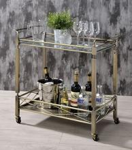 Acme 98350 Rosdorf park ervin matiesen antique brass metallic finish metal frame and clear glass top shelf kitchen island tea / bar cart