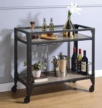 Acme 98355 17 stories harutiun matte black metal finish frame and wood finish shelves kitchen island tea / bar cart