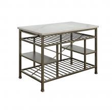 Acme 98402 House of Hampton Lanzo antique pewter finish metal frame marble top kitchen island