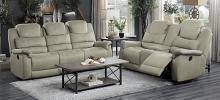 Homelegance 9848GY-2PC 2 pc Shola gray polished microfiber motion sofa and love seat set
