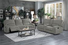 HE-9849MC-2PC 2 pc Borneo mocha fabric motion sofa and love seat set recliner ends
