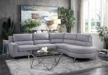 HE-9879GY-2PC 2 pc Bonita gray fabric sectional sofa set rounded chaise
