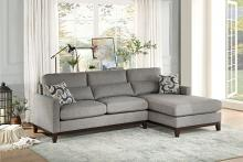 HE-9890GY-2PC 2 pc Greerman gray fabric cherry finish wood frame sectional sofa set