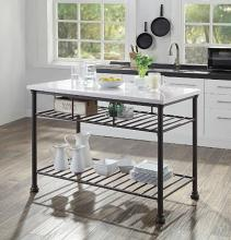 Acme 98941 House of Hampton Kaif grey finish metal frame cultured white stone kitchen island cart