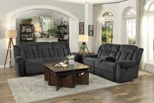 Homelegance HE-9901CC-SL 2 pc Nutmeg charcoal fabric sofa and love seat nail head trim