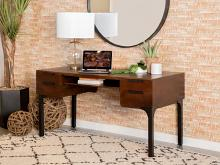 991038 17 Stories ghazi manu mid century brown mango finish wood desk matte black legs