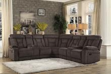 Home Elegance HE-9914CH-3PC 3 pc Rosnay chocolate fabric sectional sofa with recliner ends and consoles
