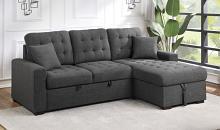 Homelegance 9916DG-SC 2 pc Mccafferty dark grey textured fabric sectional sofa storage chaise and pop up sleep area