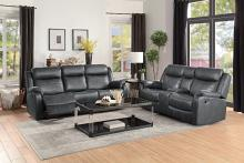 Homelegance HE-9990GY-SL 2 pc Yerba gray polished microfiber sofa and love seat lay flat recliner ends