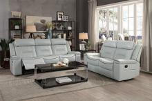 HE-9999GY-2PC 2 pc Darwan light gray leather gel match sofa and love seat set lay flat recliner ends
