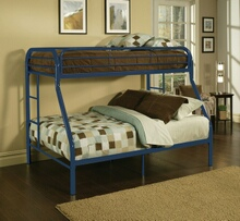 Acme 02053BL Tritan collection twin over full blue finish tubular metal design bunk bed