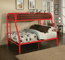 Tritan collection twin over full red finish tubular metal design bunk bed