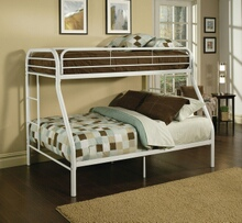 Tritan collection twin over full white finish tubular metal design bunk bed