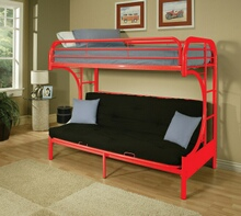 "Eclipse collection ""c"" shaped style twin over full futon red finish tubular metal design bunk bed"