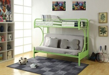 "Eclipse collection ""c"" shaped style twin over full futon green finish tubular metal design bunk bed"