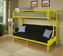 "Eclipse collection ""c"" shaped style twin over full futon yellow finish tubular metal design bunk bed"