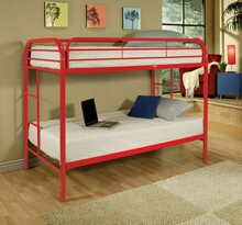 Thomas collection twin over twin red finish tubular metal design bunk bed