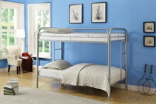 Thomas collection twin over twin silver finish tubular metal design bunk bed