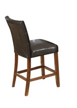 Set of 2 walnut finish wood counter height bar stools with espresso leather like vinyl upholstery