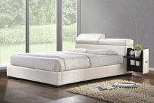 Manjot collection white leather like vinyl padded headboard footboard and rails queen size platform bed set