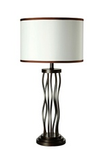 Jared collection antique bronze finish metal table lamp with drum shade with dark trim