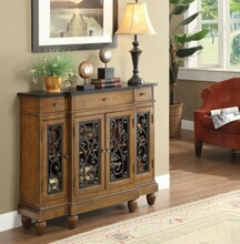 Vidi collection oak finish wood with carved front design bombay chest with drawer and cabinet