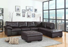 2 pc emily ii collection espresso faux leather sectional sofa set with tufted seat and backs
