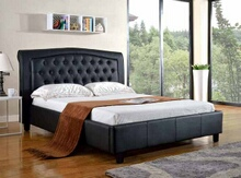 Asia Direct 8718Q-BK Silhouette black faux leather upholstered and tufted queen platform bed set