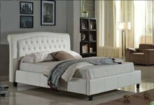 Silhouette collection white faux leather upholstered and tufted queen platform bed set