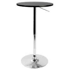 Height Adjustable Bar Contemporary Table in Black