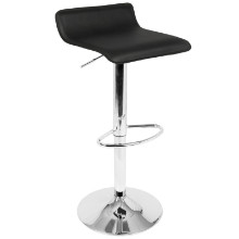 Ale Contemporary Adjustable Barstool in Black with Chrome footrest - Set of 2