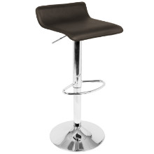 Lumisource BS-ALE-BN2 Ale Contemporary Adjustable Barstool in Brown with Chrome footrest - Set of 2