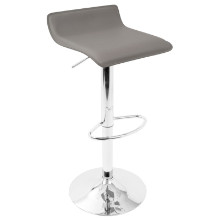 Ale Height Adjustable Contemporary Barstool in Grey with Chrome footrest - Set of 2