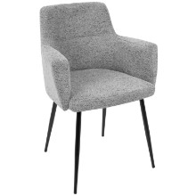 Andrew Contemporary Dining / Accent Chair in Grey Fabric - Set of 2