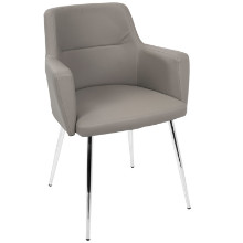 Andrew Contemporary Dining / Accent Chair in Grey PU - Set of 2