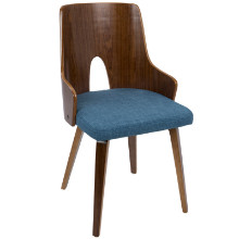 Ariana Mid-Century Modern Chair in Walnut and Blue -Set of 2