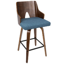 """Ariana 26"""" Mid-Century Modern Counter Stool+ in Walnut and Blue Fabric"""