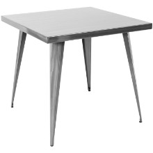 Austin Industrial Dining Table in Brushed Silver