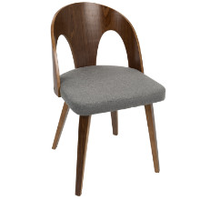 Ava Mid-Century Modern Dining Chair in Walnut Wood and Grey Fabric