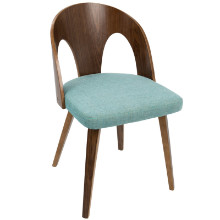 Ava Mid-Century Modern Dining Chair in Walnut Wood and Teal Fabric