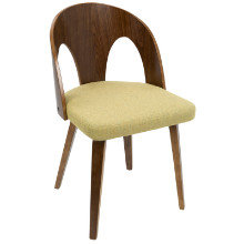 Ava Mid-Century Modern Dining Chair in Walnut Wood and Yellow Fabric
