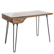 Avery Contemporary Desk in Walnut and Clear and Black