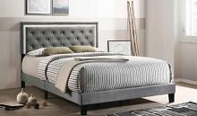 B112 House of Hampton vernon gray velvet fabric crystal tufted queen bed set