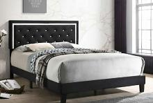 B113 House of Hampton vernon black velvet fabric crystal tufted queen bed set